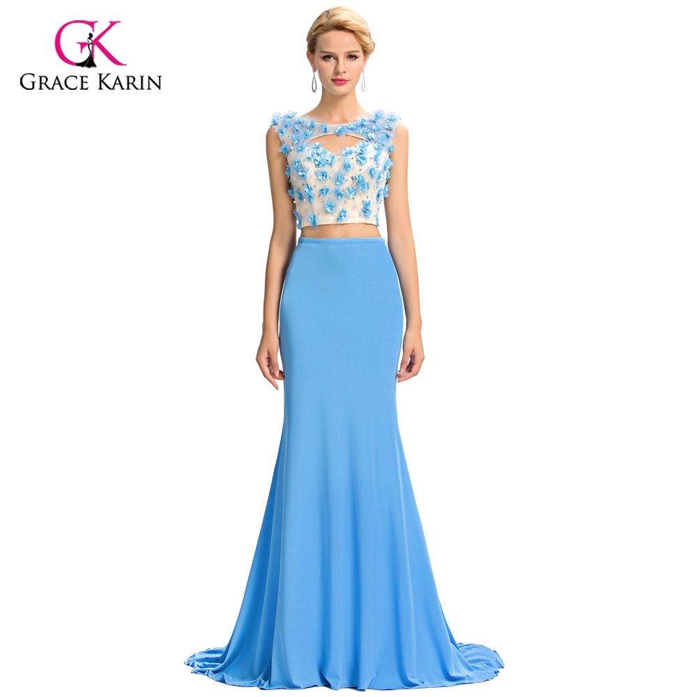 ⃝2018 Two Piece Blue Long Prom Dresses For Special Occasion Grace ...