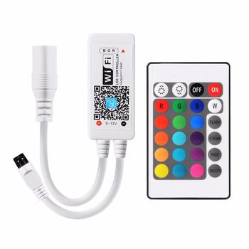 Kontroler RGBW RGB DC5-24V taśmy LED kontroler lampy Wifi kolor Mini Wifi piloty wsparcie głosowe App sterowane telefonem tanie i dobre opinie LPILY CN (pochodzenie) led wifi controller smart phone wifi control 5-50m no barr Plastic 1 Year 144 192W Led strips ROHS