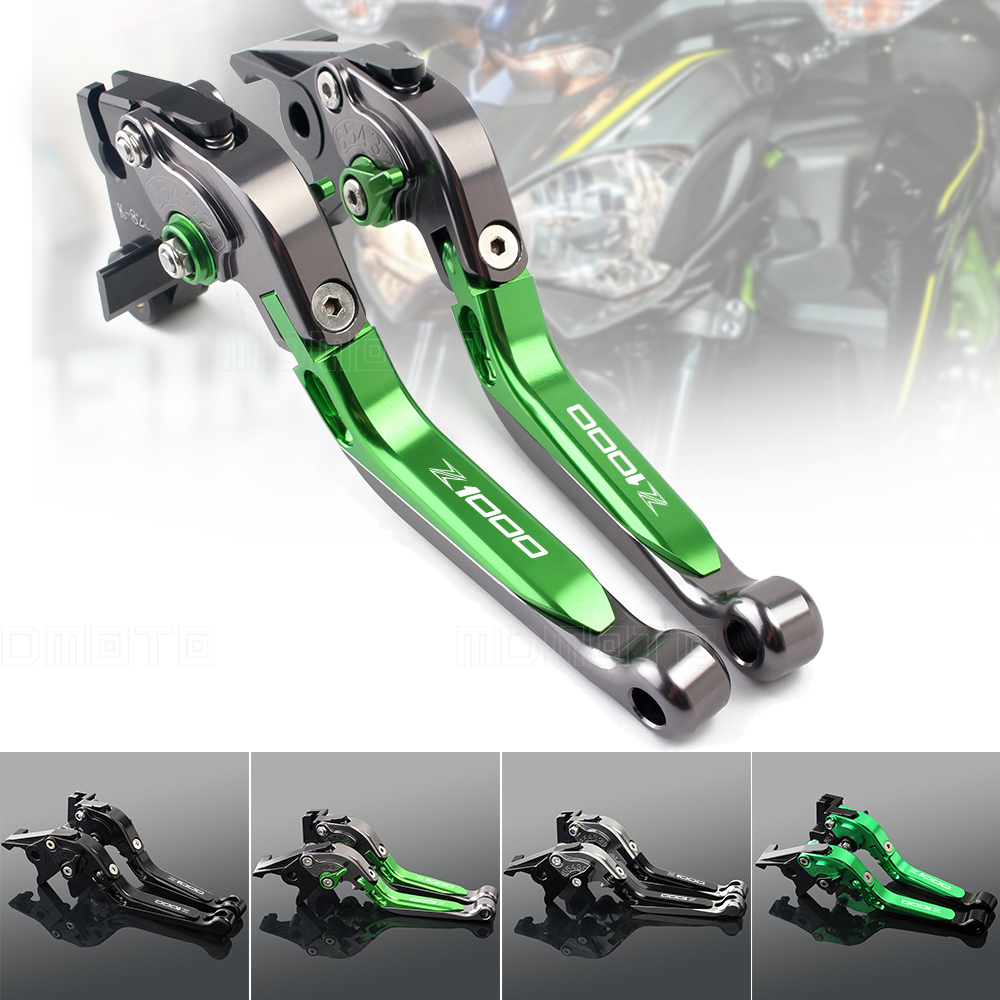 Green+titanium Clutch Brake Lever For Kawasaki Z1000 Z1000R Z 1000 R 2017 CNC Aluminum Adjustable Motorcycle Brake Clutch Levers