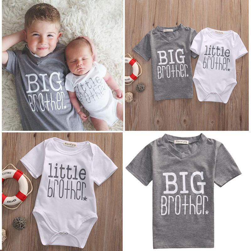 Прямая поставка, 2017, семейная Одинаковая одежда, милый комбинезон для маленьких мальчиков с надписью и Повседневная футболка для большого б...