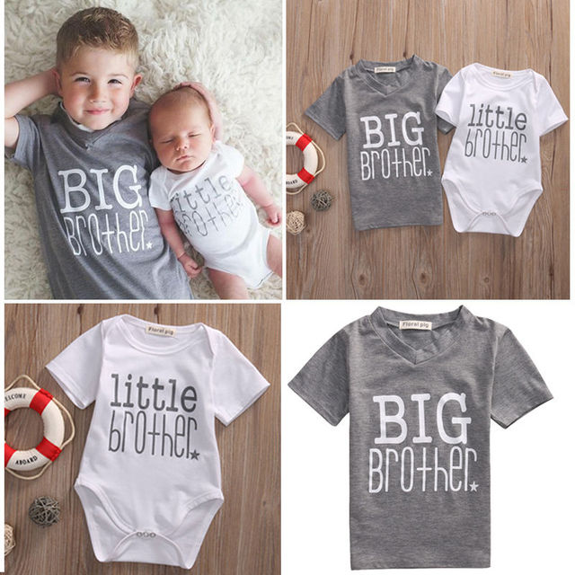91bc4cce Drop Shipping 2017 Family Matching Clothes Little Brother Letter Cute Baby  Boy Romper and Casual Big Brother Boys T-shirt Tops