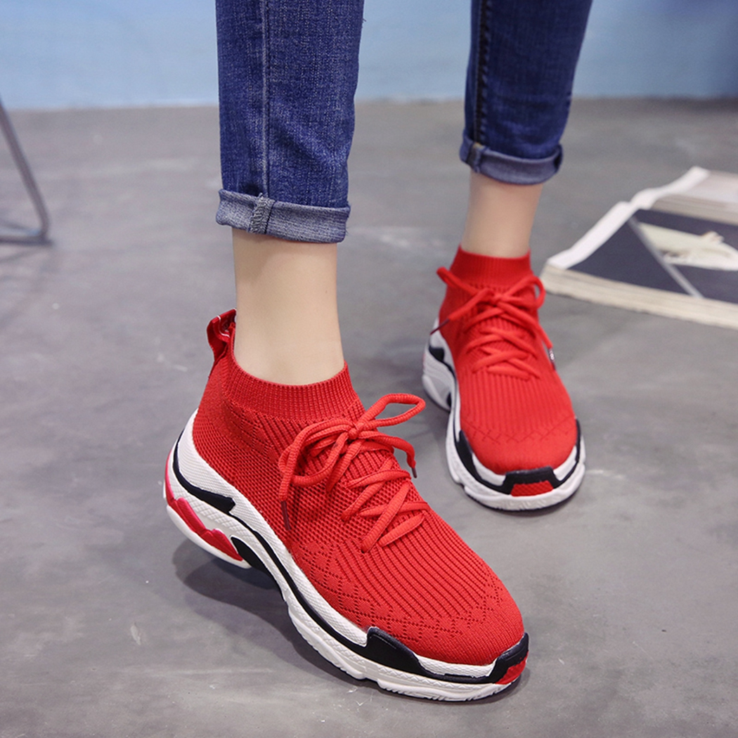 2018 High Top Fashion Sneakers Women Breathable Knit Upper Platform Shoes Tenis Feminino Casual Shoes Women Black/Red