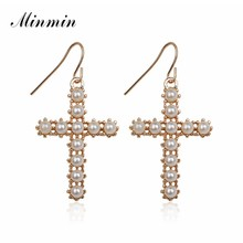 Minmin Unique Gold Color Simulated Pearl Dangle Earrings for Women 2019 ZA Simple Cross Hanging Earrings Fashion Jewelry MEH1377(China)