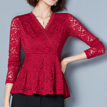Chemise Femme Spring 2019 New blouses shirts Long Sleeve Pink Red Lace Blouse Womens Fashion Tops Ruffle M-3XL Plus size 801H