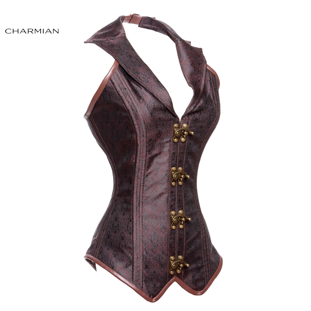 4593efcc4db Charmian Women s Plus Size Steampunk Corset Rock Steel Boned Halter  Overbust Corsets and Bustiers Brown Black