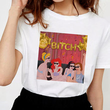 2668eadcf785 Las mujeres divertidas señoras Harajuku T camisa parodia princesa cuello  perra Punk camiseta impresión Casual de