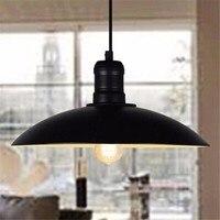 E27 Retro Industrial Loft Style Restaurant Bar Cafe Creative Iron Pot Pendant Lamp Dia32cm*13 LED Bulbs Lampshade Art Style