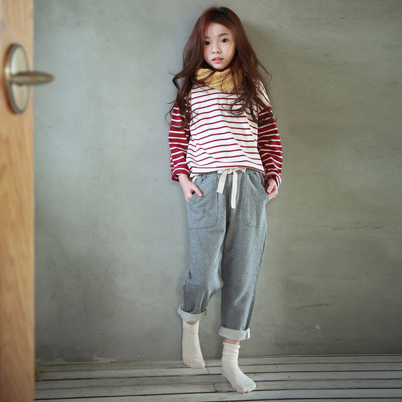 2017 hot sale sophie children harem pants for girls trousers kids child casual pants candy solid