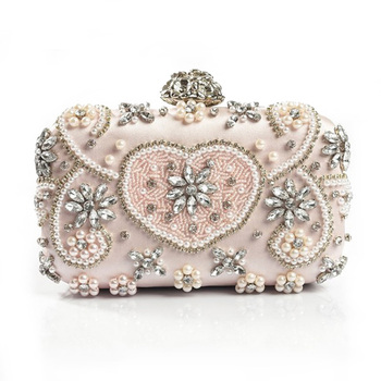 Luxury Crystal Evening Bag Handmade Style Rhinestones Pearl Women Evening Bags Vintage Satin Lady Party Wedding Clutches Purses Clutches