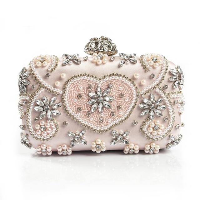 4ed4619351ee Luxury Crystal Evening Bag Handmade Style Rhinestones Pearl Women Evening  Bags Vintage Satin Lady Party Wedding