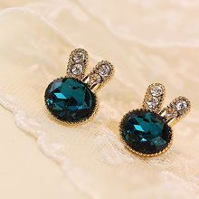 Crystal Cubic Zirconia Rabbit Stud Earrings For Women Girls Fashion Female Gold Rhinestone Ear Jewelry Accessory Pendientes
