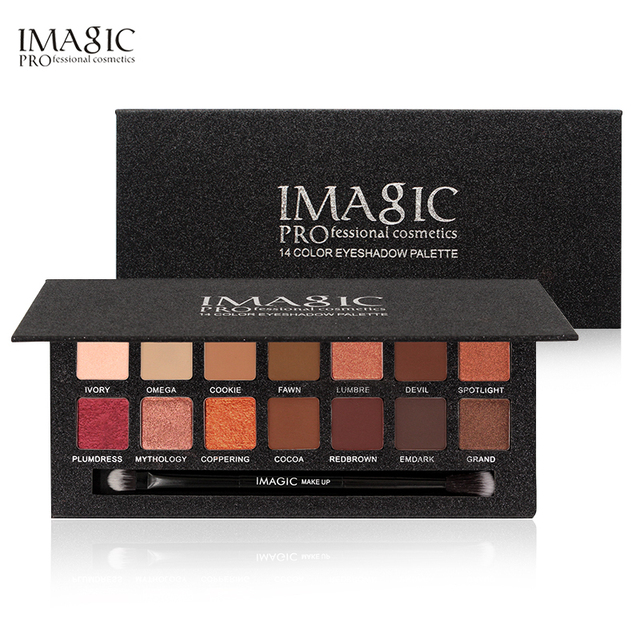 IMAGIC Brand Minerals Pigments Waterproof Nude Eyeshadow Palette Makeup Shimmer and Matte Powder Eye Shadow Natural 14 Color