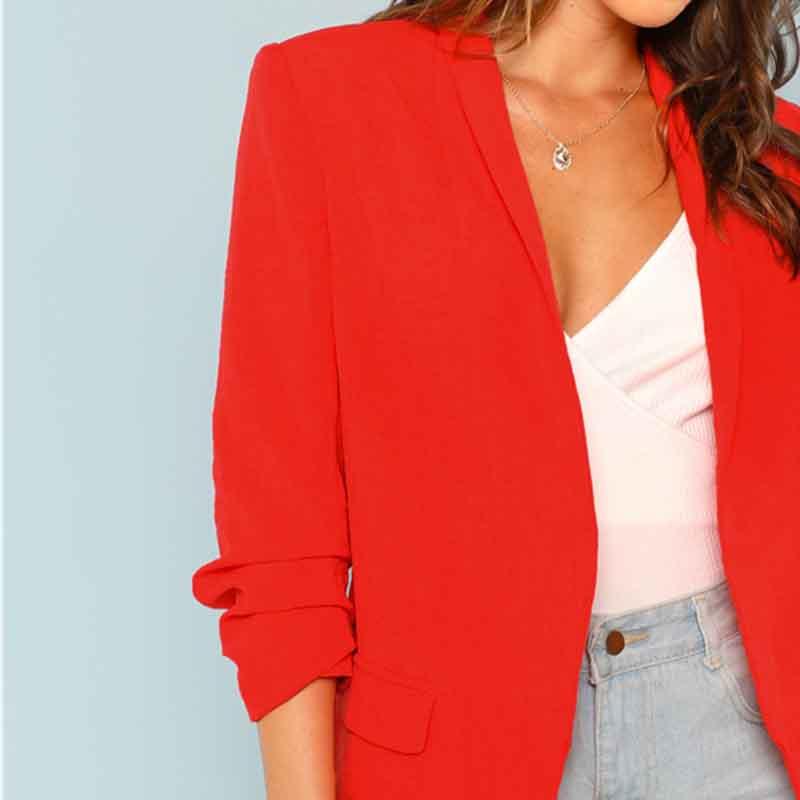 COLROVIE Red Solid Workwear Shawl Collar Women Blazer Feminino 2018 New Ladies Blazer Office Suit Elegant Women Outwear Coat 8