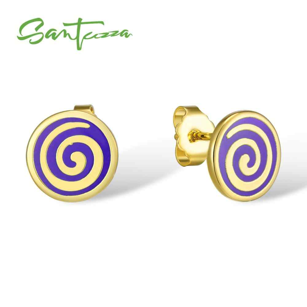 Santuzzaスモールラウンドスタッドピアス女性のための紫色の手作りエナメルスモールラウンド女性のイヤリングパーティーファッションジュエリー