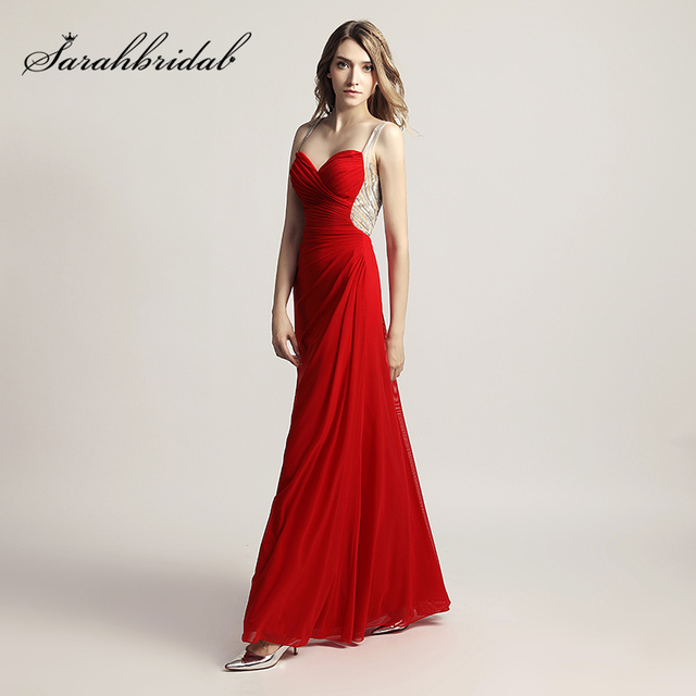 1e3d60120f Simple Red Pleat Sweetheart Prom Dresses with Beading Back Long Chiffon  Spaghetti Strap Fashion Women Party Gowns OL467