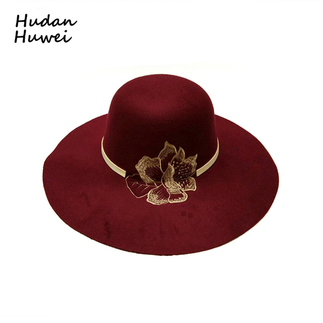 Women Lady Wide Brim Wool Felt Fedora Hat with Embroidered Flowers British  Style All-match Formal Party Trilby Hats GH-459 65878451a4b