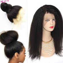 Kinky Straight Lace Front Wig Pre Plucked With Baby Hair 180% Lace Front Brazili