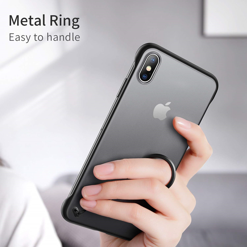 Luxury Frameless Matte Transparent Phone Case For iPhone X 7 6 6S 8 Plus Ultra Thin Covers For iPhone XS Max XR With Finger Ring in Fitted Cases from Cellphones Telecommunications