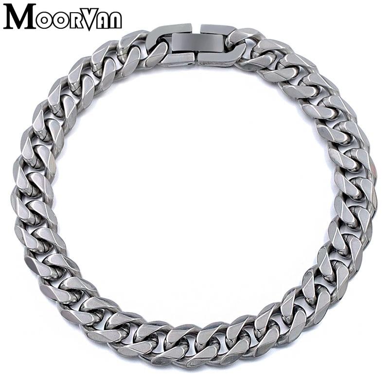 Moorvan Jewelry Men Bracelet Cuban links & chains Stainless Steel Bracelet for Bangle Male Accessory Wholesale B284 6