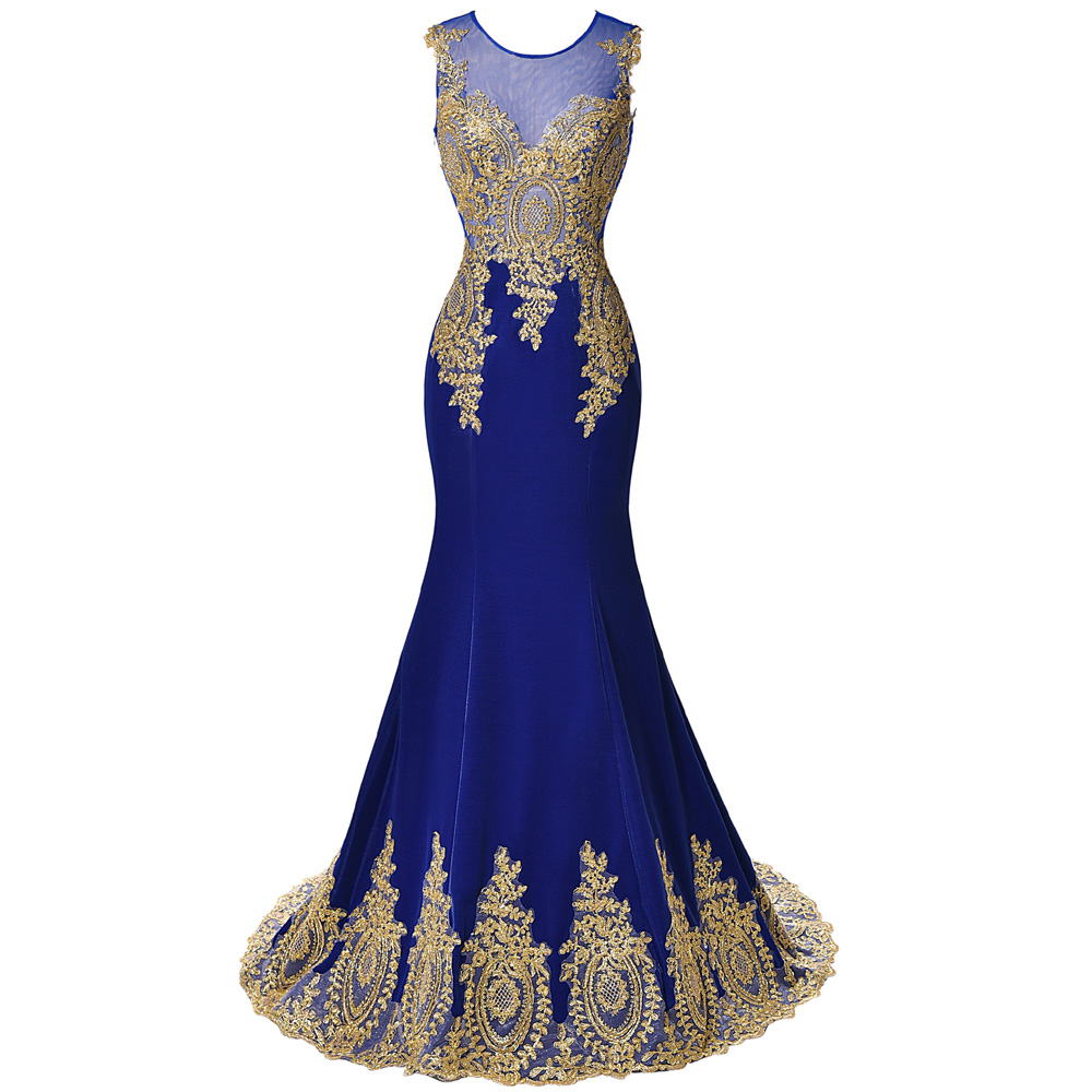 Buy 2017 New Design Gold Embroidery Mermaid Evening Dresses Black Blue Lace Evening Gowns Patterns Formal dress Long Prom Dresses