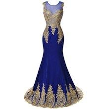 2017 Novo Design do Bordado do Ouro Sereia Vestidos de Noite Preto Laço Azul Vestidos de Noite Padrões vestido Formal Longo Prom Vestidos(China (Mainland))