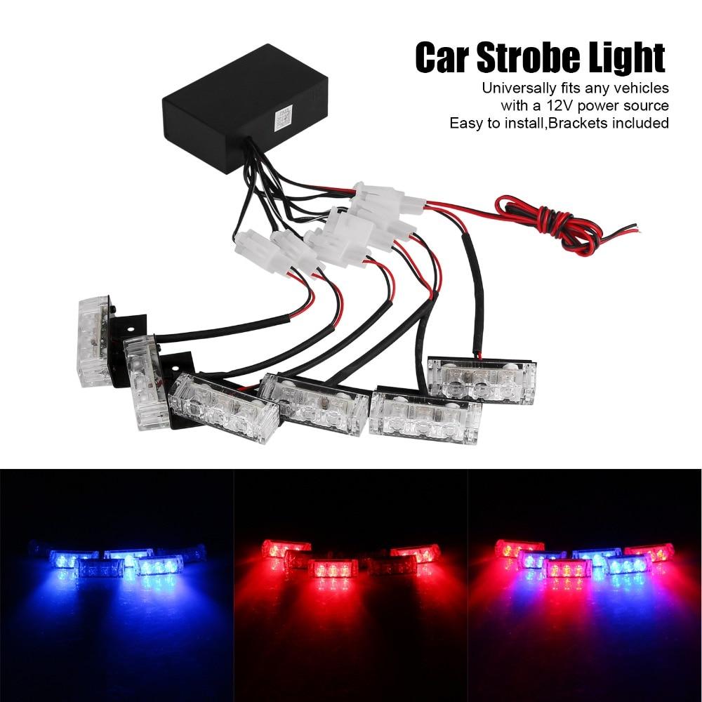 6x3 LED Universal Car Warning Strobe Flash Warning EMS Police Light Firemen Emergency Light Lamp 3 Modes Red and Blue Lighting