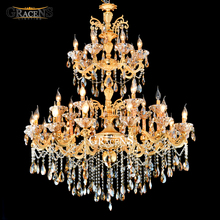 Large 3 tiers Gold Crystal Chandelier Lighting Big Cristal Lustres Light Fixture 28 Arms Chandelier Crystal for Hotel MD2117 30 48 arms church large led chandeliers lustres de cristal hotel long gold champagne crystal chandelier lamp shade led fixture