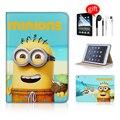 Lindo minions cartoon accesorios de la tableta caso de la cubierta elegante para el ipad mini 3 caso minion de cuero para el caso de ipad mini accesorios