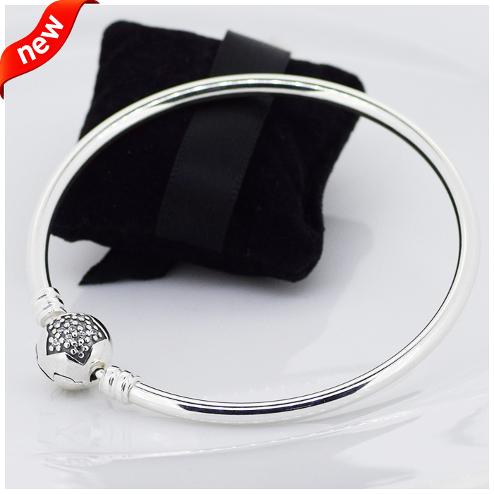 CKK 925 Sterling Silver Moments Silver Star Clasp Bangle Original Jewelry Making Fits For Beads & CharmsCKK 925 Sterling Silver Moments Silver Star Clasp Bangle Original Jewelry Making Fits For Beads & Charms