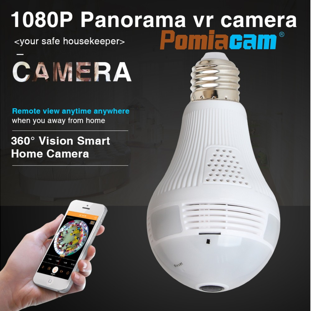 1080P Wifi Bulb Camera,Smart Fisheye LED Light 360° Panoramic for Remote Home