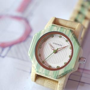 Image 3 - Bobo Vogel O10 Bamboe Vrouwen Horloges Crystal Dial Dames Quartz Jurk Horloge In Houten Doos