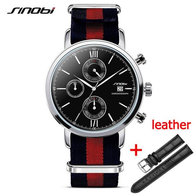 146869c92a1 SINOBI Men s Fashion Sports Military Watches Chronograph Mens Quartz  Wristwatches Waterproof James Bond 007 Relogio Masculino