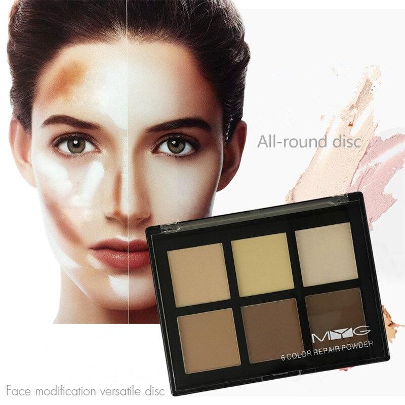 MYG Six couleurs Bronzants & Surligneurs, anti-cernes, réparation puissance, lueur kit, mettre en évidence le maquillage, iluminador maquiagem
