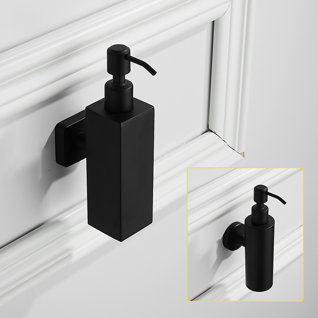 Auswind Black Hand Soap Dispenser Wall Mounted Sus 304 Stainless Steel For Bathroom 300ml Liquid
