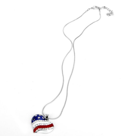 my shape USA American Flag Enamel Blue and Red Crystal Rhinestone Heart  Patriotic 4th of July Independence Day Pendant Necklace-in Pendant  Necklaces from ... 1c7f77832b0b