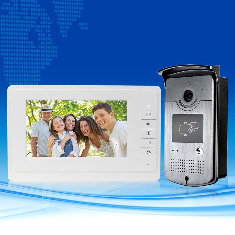 Brand New Wired 7 inch Color Video Door Phone Intercom Entry System 1 Monitor +1 RFID IR COMS Camera+Keys In Stock FREE SHIPPING brand new 7 inch color screen video doorphone sperakerphone intercom system 1 monitor 700tvl coms camera free shipping