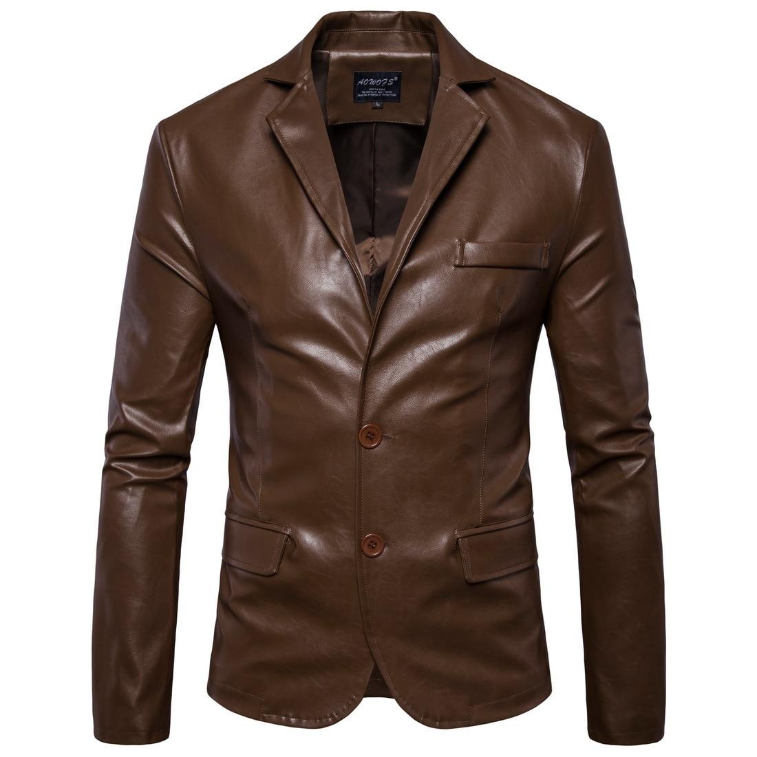 Men Leather Coat Autumn And Winter New Men's Leathers British Trade  Simple Suit Jacket  Men