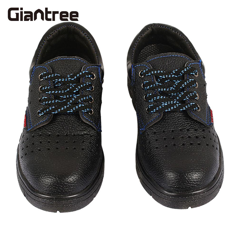 Leather Safety Men'S Boots Safety Breathe Freely Safety Work Shoes Anti-Smash Black Safety Steel Shoes mulinsen breathe shoes men