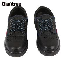 Leather Safety Men'S Boots Safety Breathe Freely Safety Work Shoes Anti-Smash Black Safety Steel Shoes