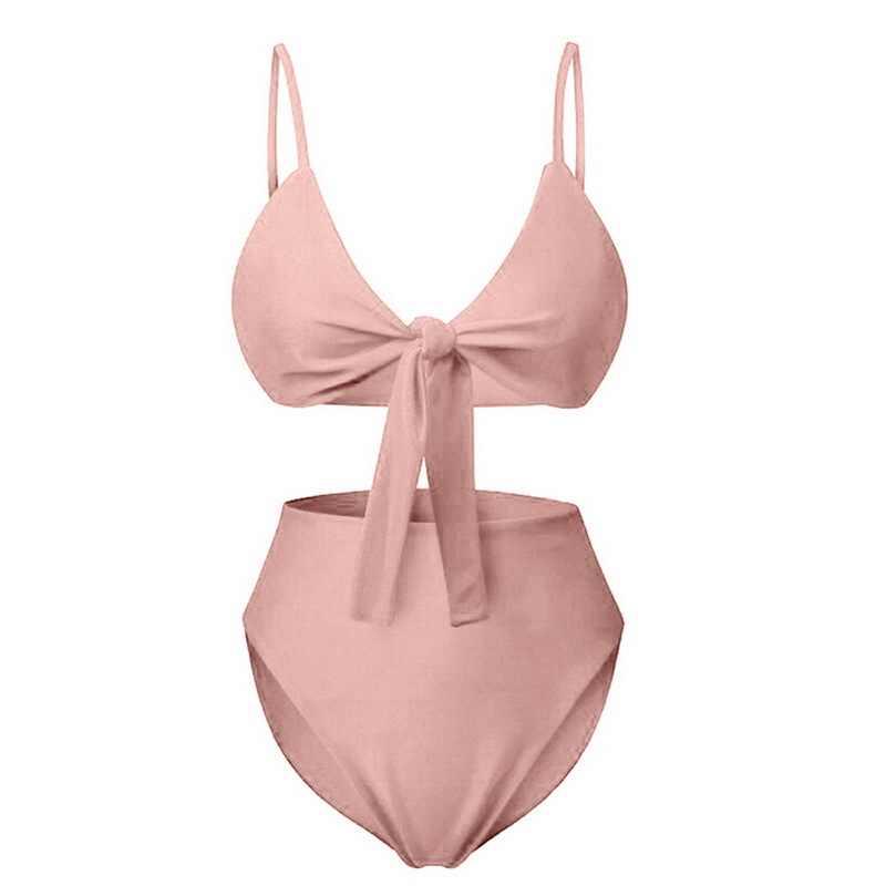 MoneRffi 2019 بيكيني مثير ملابس الشاطئ للنساء ملابس السباحة الصلبة عالية الخصر ثوب السباحة قابل للتعديل الصيف رفع ملابس سباحة حريمي