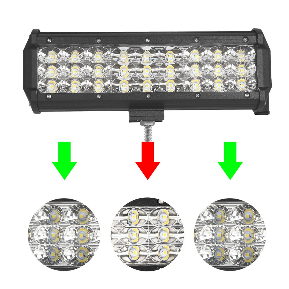 9 inch 108W Tri-Row LED Work Light Bar SPOT/FLOOD/COMBO Beam LED for Jeep Off road 4WD Boat SUV ATV Truck 4X4 15 inch 180w tri row led work light bar with wiring harness spot flood combo beam for jeep off road 4wd boat suv atv truck 4x4