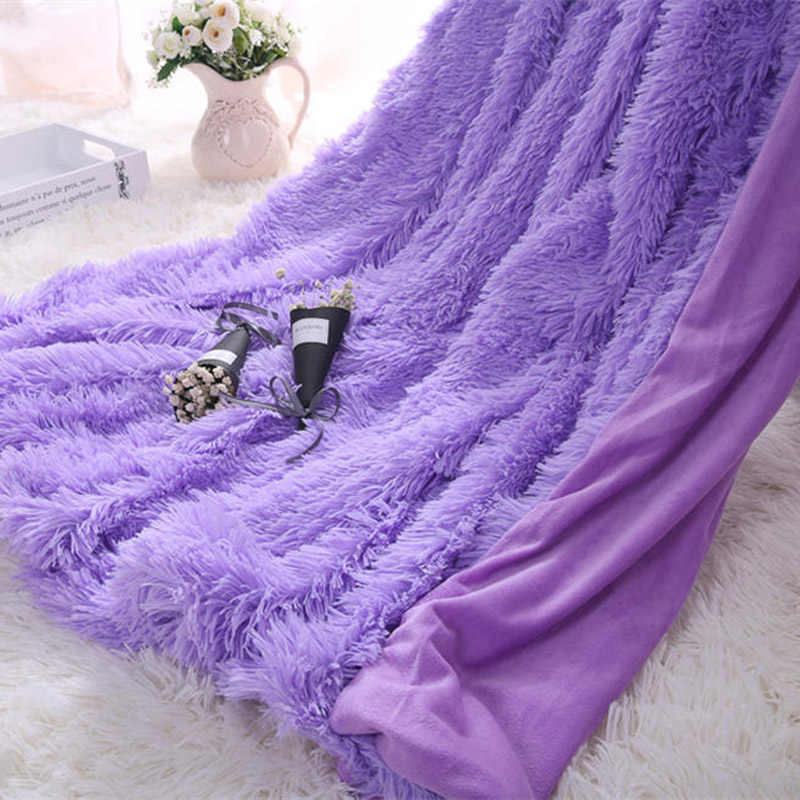 Blanket for Children Double-layer Shaggy Blanket Crystal Plush solid Throw Blankets Decorative on The Couch and Armchair RT99