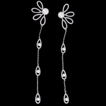 Siscathy 126*20mm Luxury Cubic Zirconia Women Earrings Trendy Copper Pierced Dangle Statement For Wedding Engagement