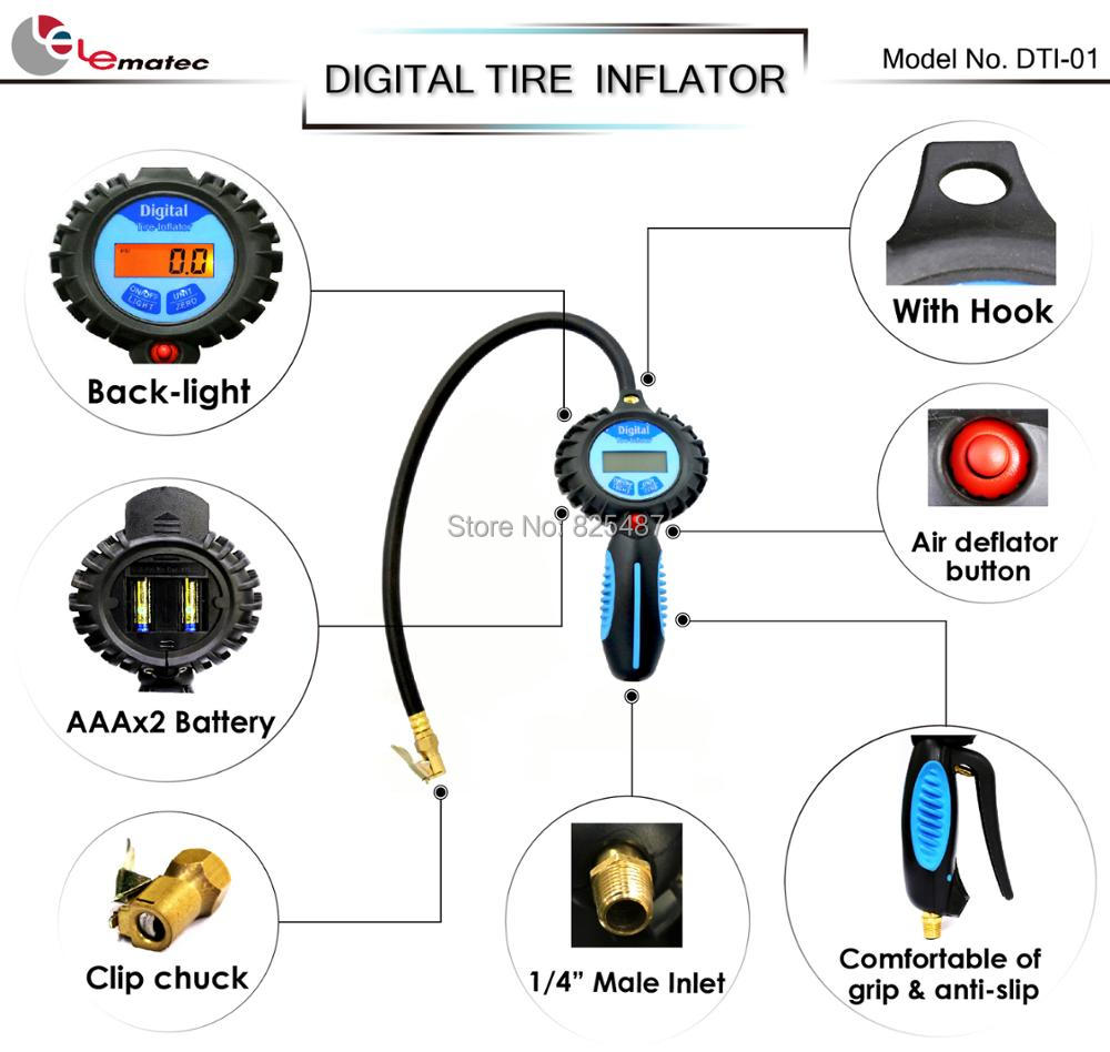 LEMATEC Digital Tyre Inflating Gun With Pressure Gauge For Car Truck Auto Tire Inflator Air Tools LCD Back Light Tire Gauge air pressure gauge 0 300 psi 0 16 bar with inflating gun fit for auto car motorcycle bicycle type measure meter 6007
