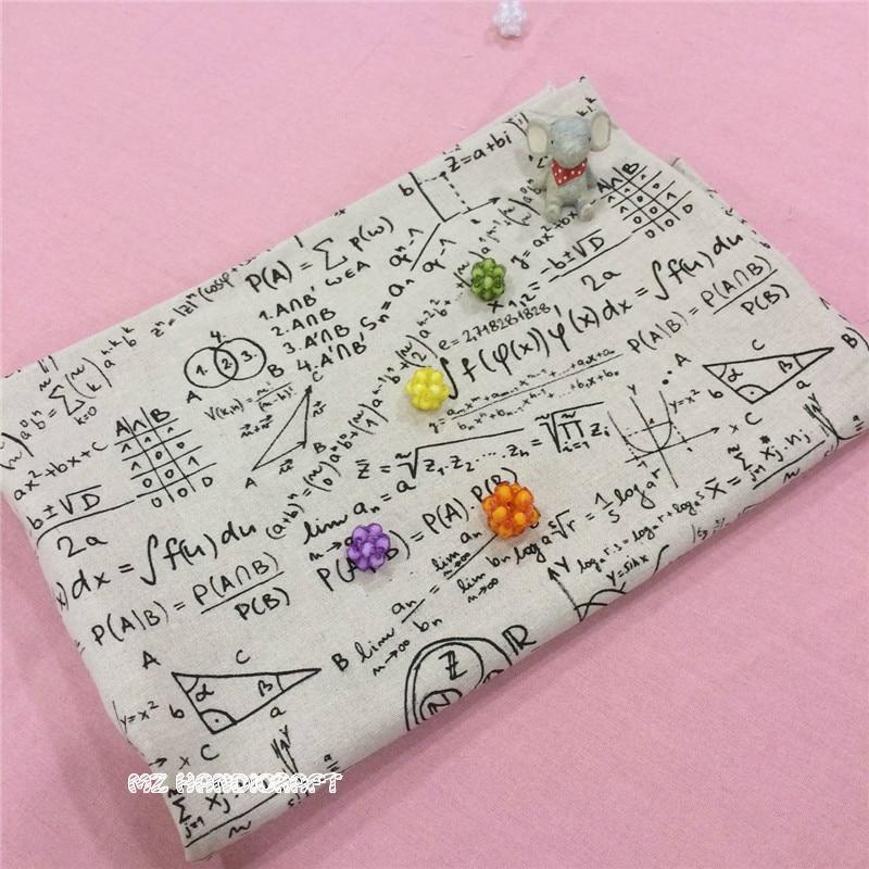 Retro Cotton Linen Blend Fabric Printed Mathematical Symbo for DIY Pillow Bag Cushion Tablecloth Decor Cotton Fabric 50*150cm