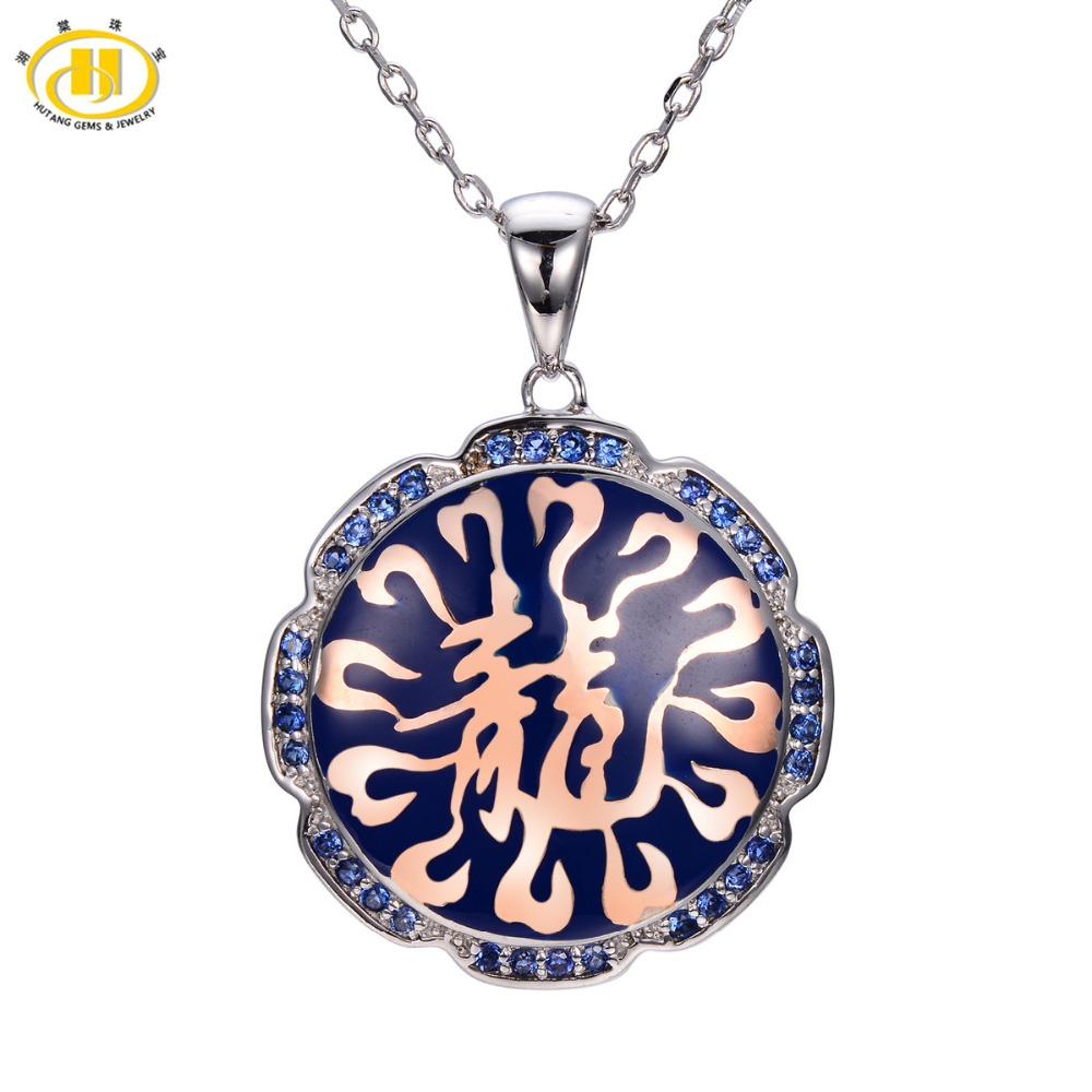 Hutang Created Blue Sapphire Enamel Pendant 925 Sterling Silver Necklace Chinese Element Dragon Fine Fashion Jewelry Gift New все цены