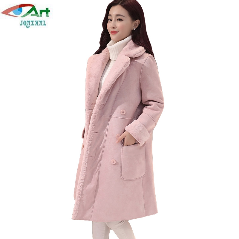 JQNZHNL 2017 New Winter Women Lamb Wool Cotton Coat Jacket Female Turn Down Collar Double Breasted Super Warm Thicken Coat E190 europe 2015 new women winter coat slim turn down collar long double breasted leather match cotton jacket coat w20