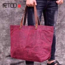 купить AETOO Outdoor men's and women's casual canvas bag, portable shoulder waterproof cloth bag, large-capacity fold handbag по цене 1946.88 рублей