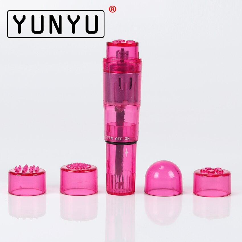 1 Set 4 Head Interchangeable Tips Waterproof Mini Body Massager Relieve Stress Travel Pocket Vibrator Sex Toys For Women