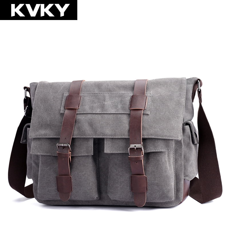 KVKY Men Canvas Messenger Bags High Quality Multifunction Shoulder Bags Vintage Crossbody Bag Men S Handbags
